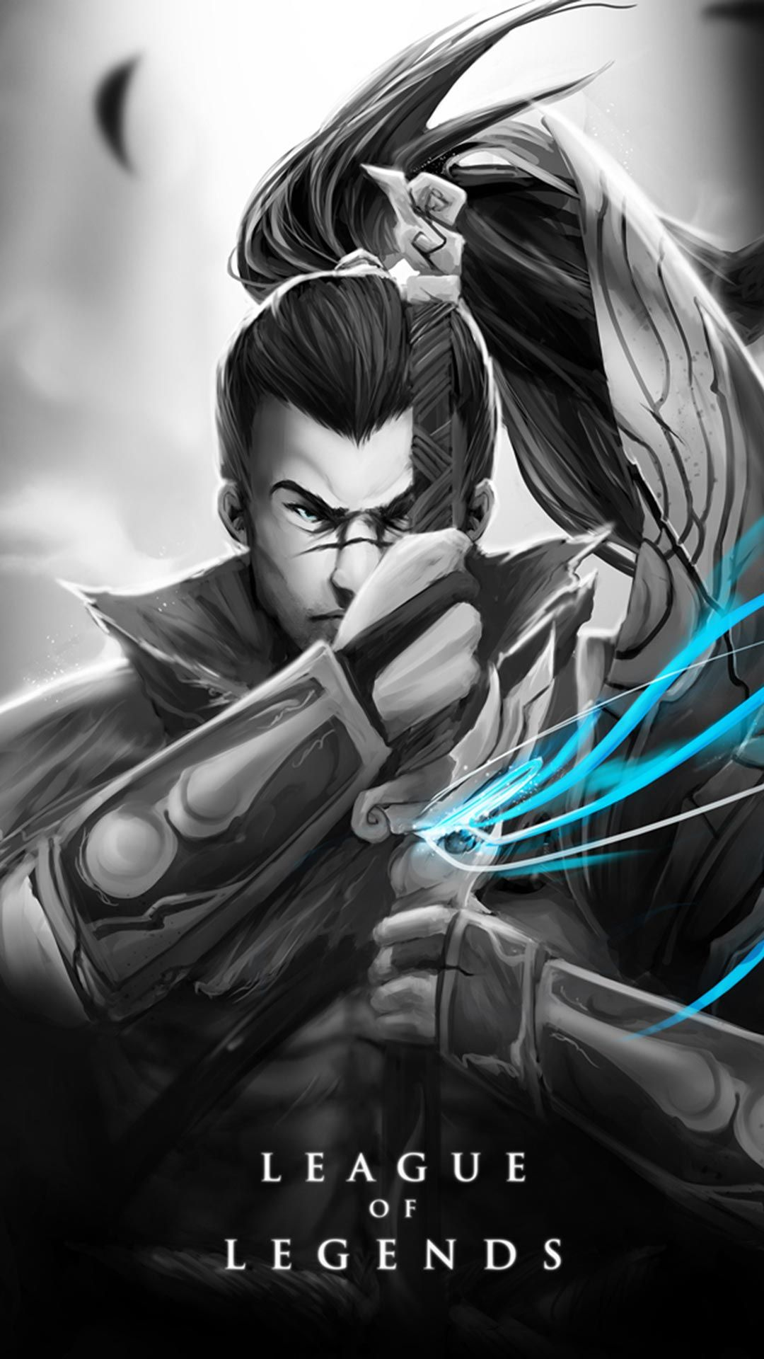 Yasuo Skin black and white android, iphone wallpaper