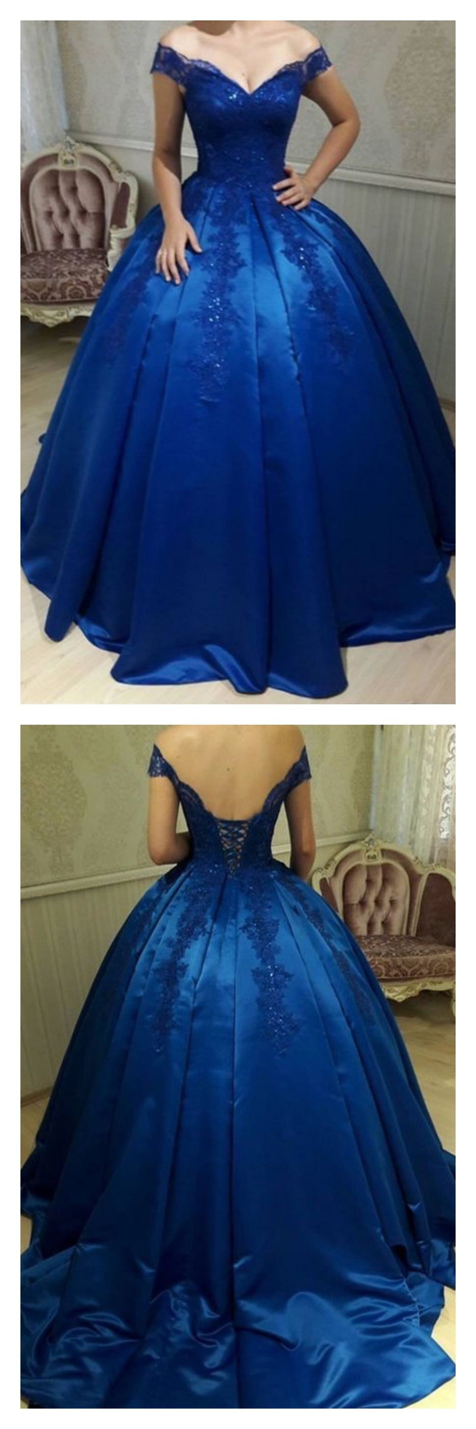 Royal blue off shoulder long prom ball gown with laceed in