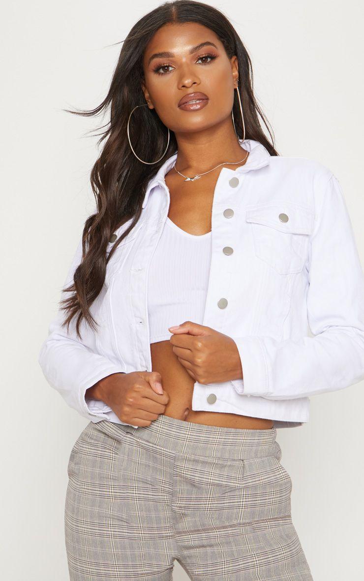 The Cropped White Denim Jacket Head Online And Shop This Season S Range Of Denim At Prettylittlething Expres White Denim Jacket White Denim Pink Denim Skirt [ 1180 x 740 Pixel ]