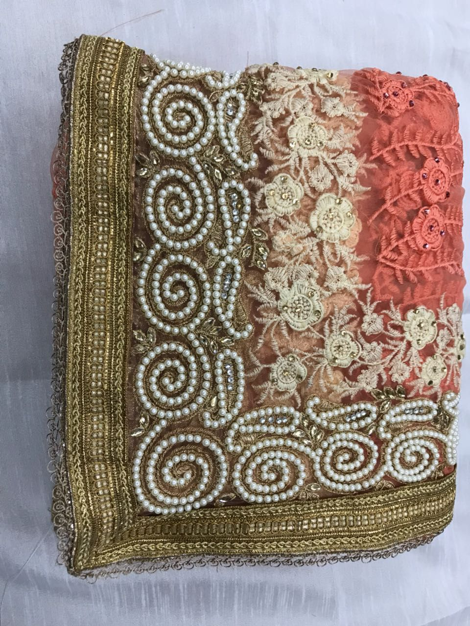 4c48d590bc DESIGNER HEAVY EMBROIDERED BRIDAL SAREES HEAVY NYLON NET WITH THREAD  EMBROIDERY WORK WITH PEARL STONE AND KHATLI DIAMOND WORK (HAND WORK)