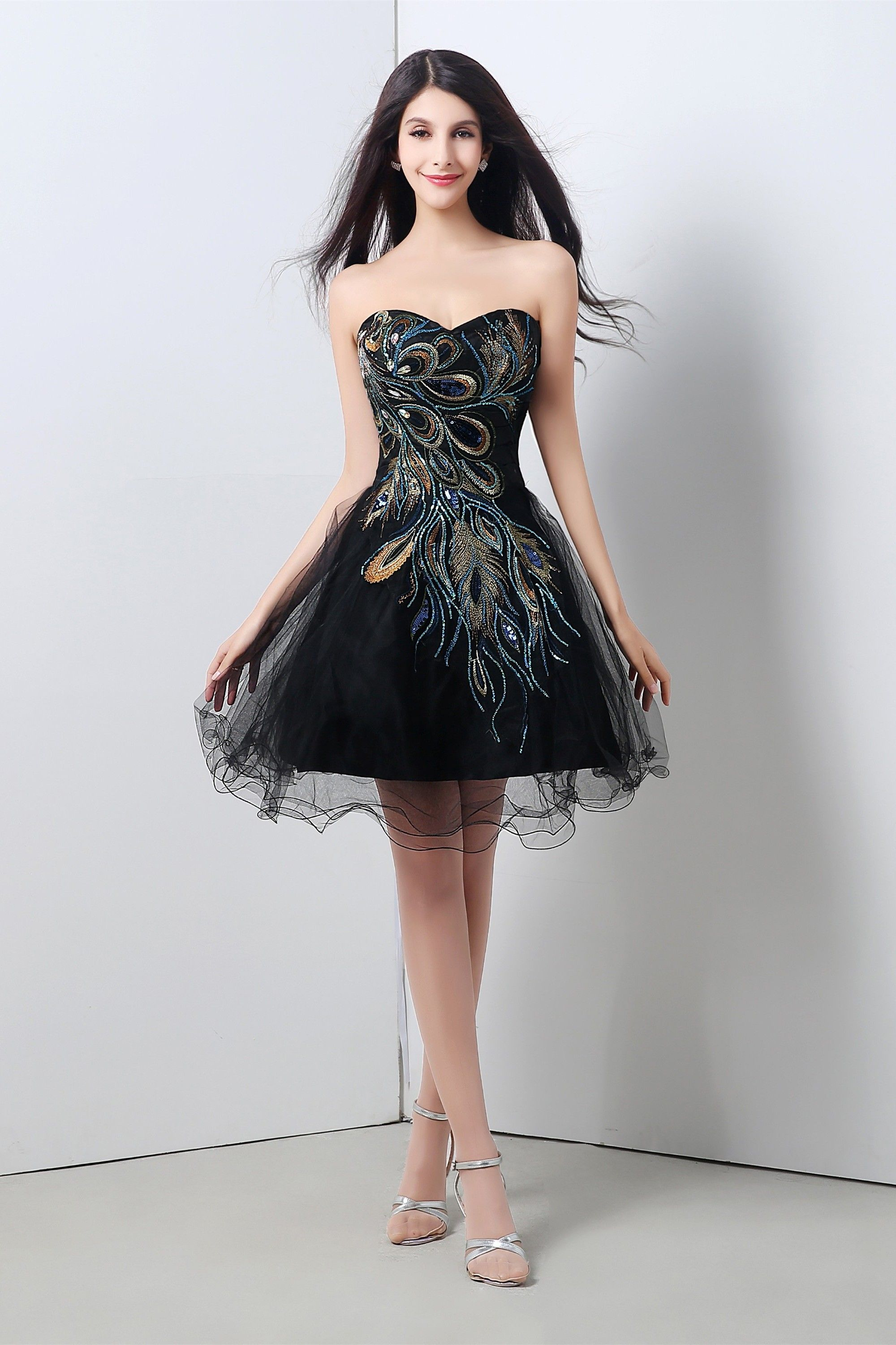 black embroidered dress prom