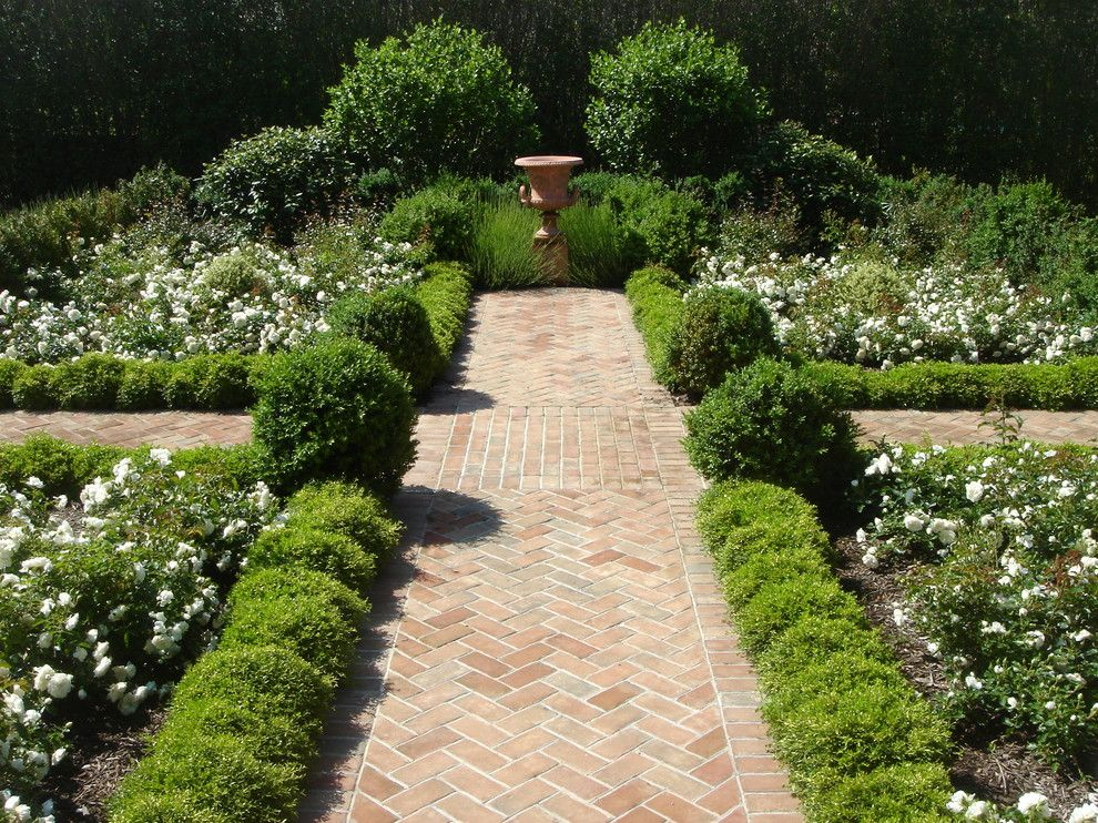 brick walkway landscape victorian with formal garden white