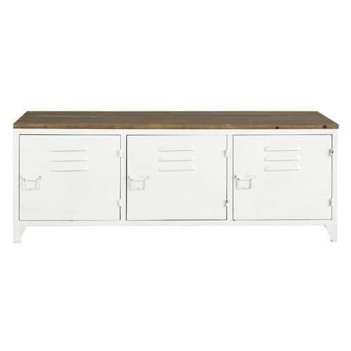 Ikea Tv Meubel Grenen.Industrieel Tv Meubel Van Wit Metaal En Grenen Nieuw Huisideeen