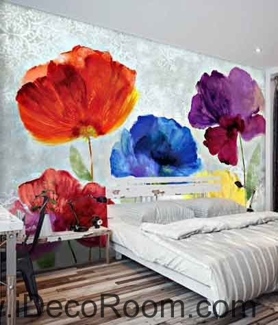 Abstract Watercolor Red Blue Purple Flower Wallpaper Wall Decals