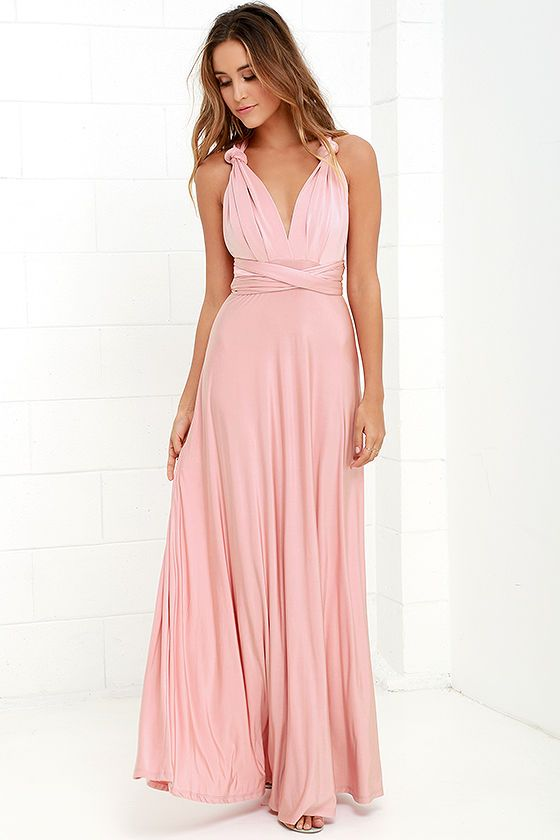 Lulus Always Stunning Convertible Blush Pink Maxi Dress