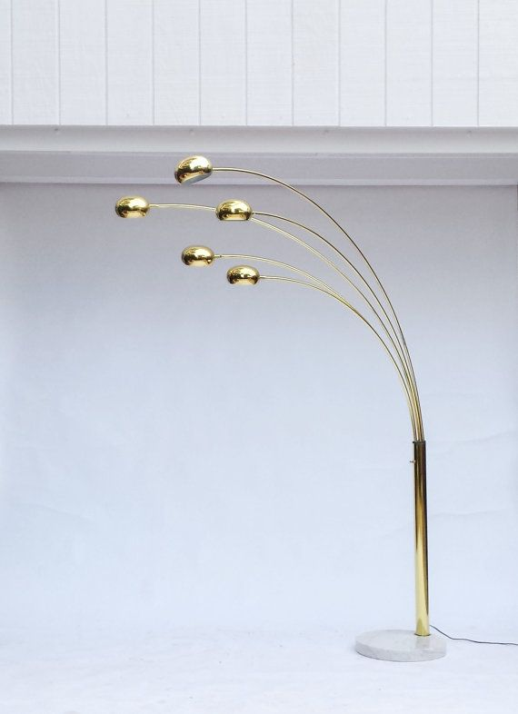 Mid Century Modern ARC FLOOR LAMP / Brass Arc Lamp / Brass Five Arm Floor  Lamp With Marble Base
