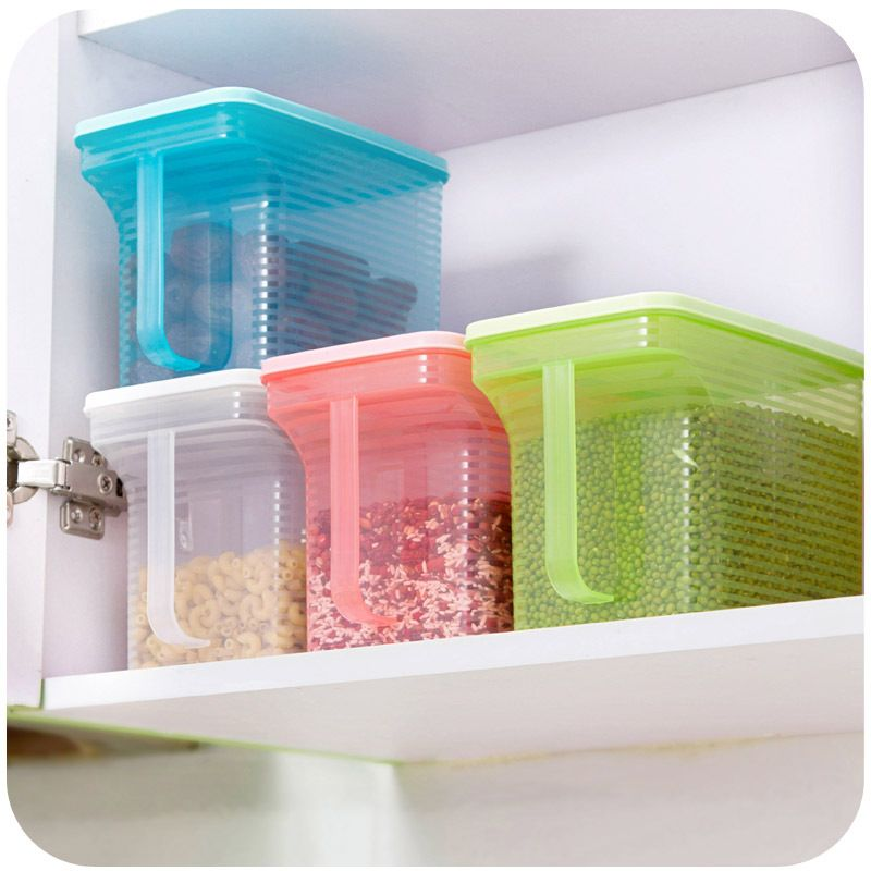 Creativity Can Be Superimposed Single Handle Grains Sealed Cans Plastic Storage Kitchen Cabinets Refrigerator Box K4880