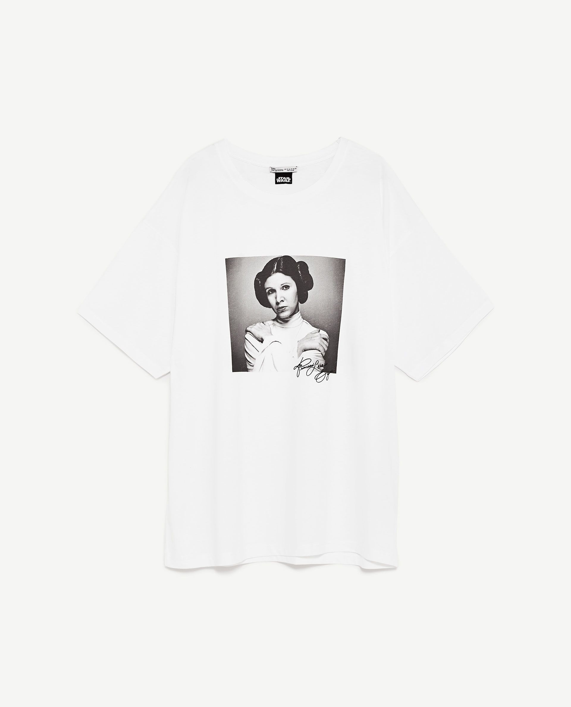 Storrelse S O O Billede 8 Af T Shirt Med Prinsesse Leia Print Fra Zara Printed Shirts Womens Shirts Print Tops