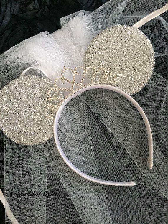 Bride Bow Disney Parks Disneyland Tiara Minnie Ears Rare Wedding Veil Headband