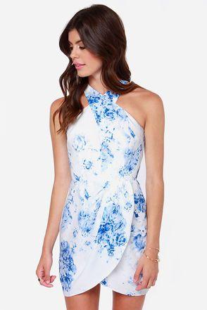 Keepsake Real Love Blue And White Print Dress Stunning