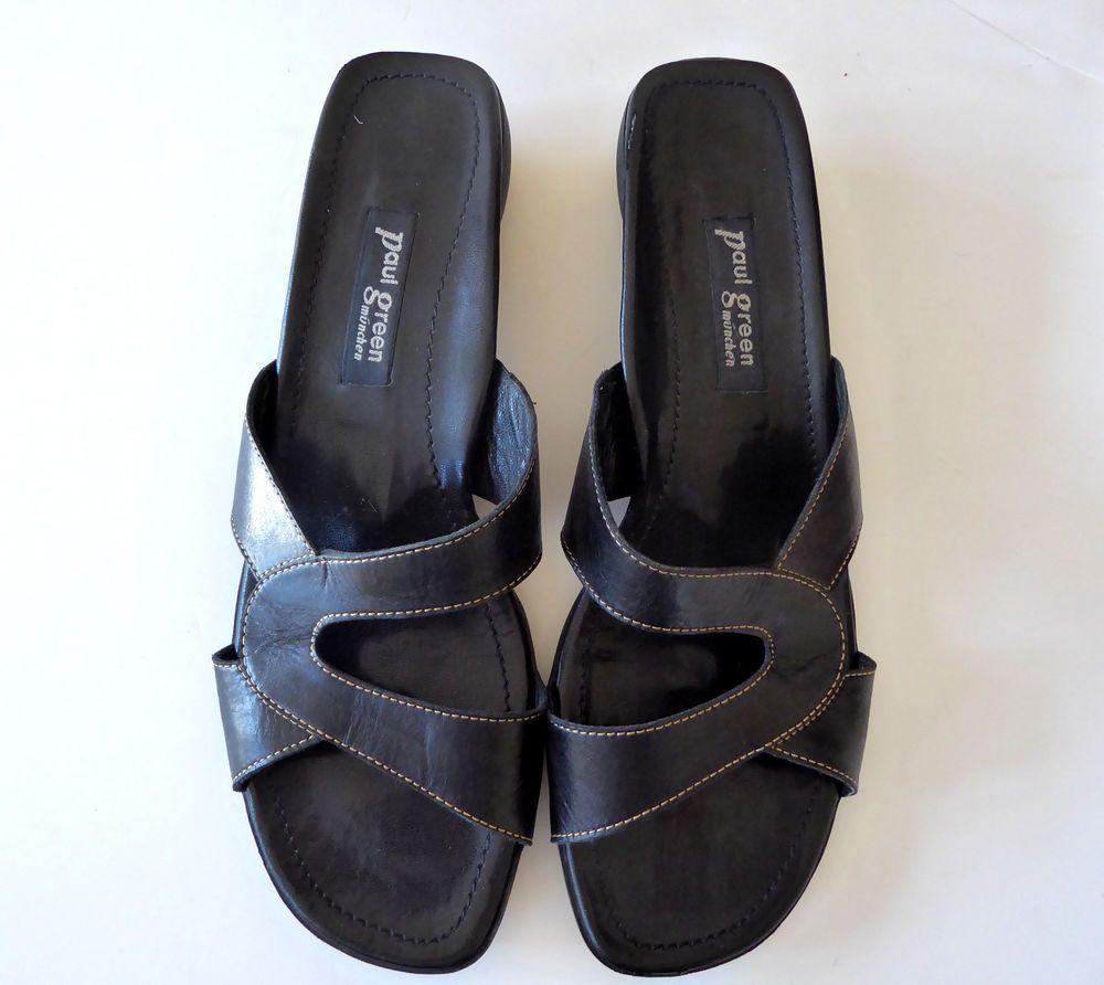 paul green munchen sandals slides us 10 5 austria 8 5 slip on black