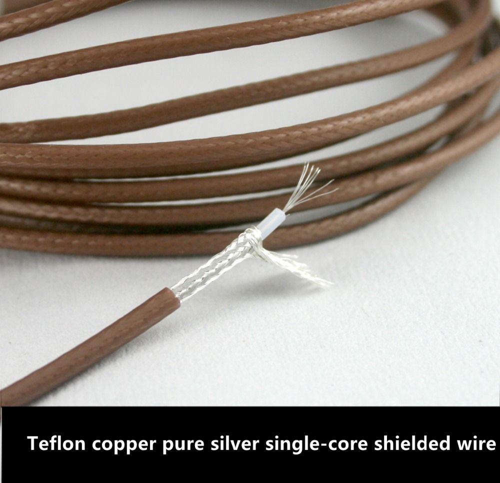 Teflon copper pure silver single-core shielded wire 2.5MM diameter ...