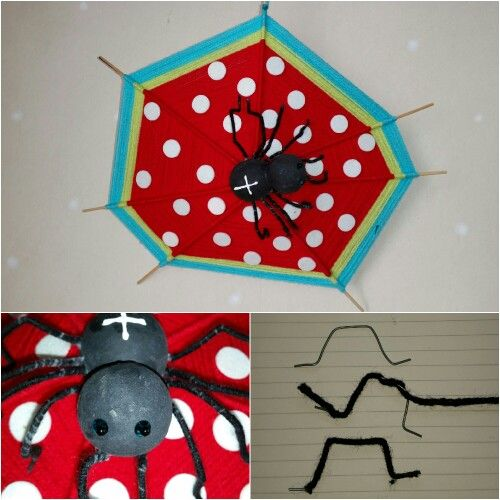 Spiderweb okt. 2014, spinneweb  I made the spider out of two styrofoam balls and painted it. Then I sticked the sticks in the body of the spider to form the web. With yarn I filled it up in the colors of Oilily. I glued polka dots on the red part. At the end I made the legs from wire and glued yarn on it before I sticked them in.