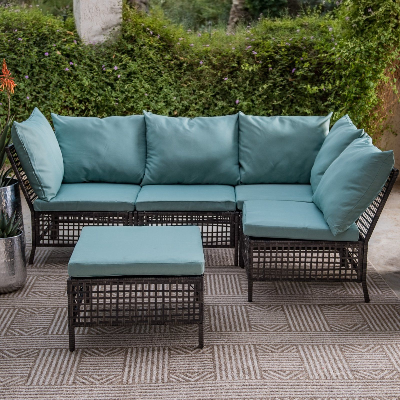 Outdoor Coral Coast Carmina All Weather Black Wicker Sectional