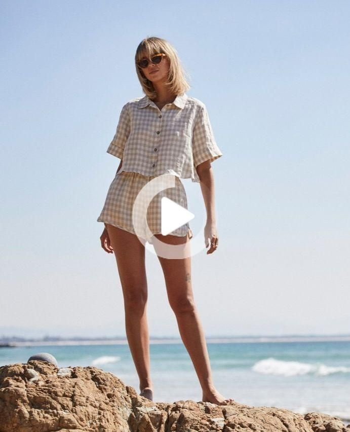 NEW NOW: French linen clothing, in beige gingham. A beautiful 70's inspired short set that you can M...
