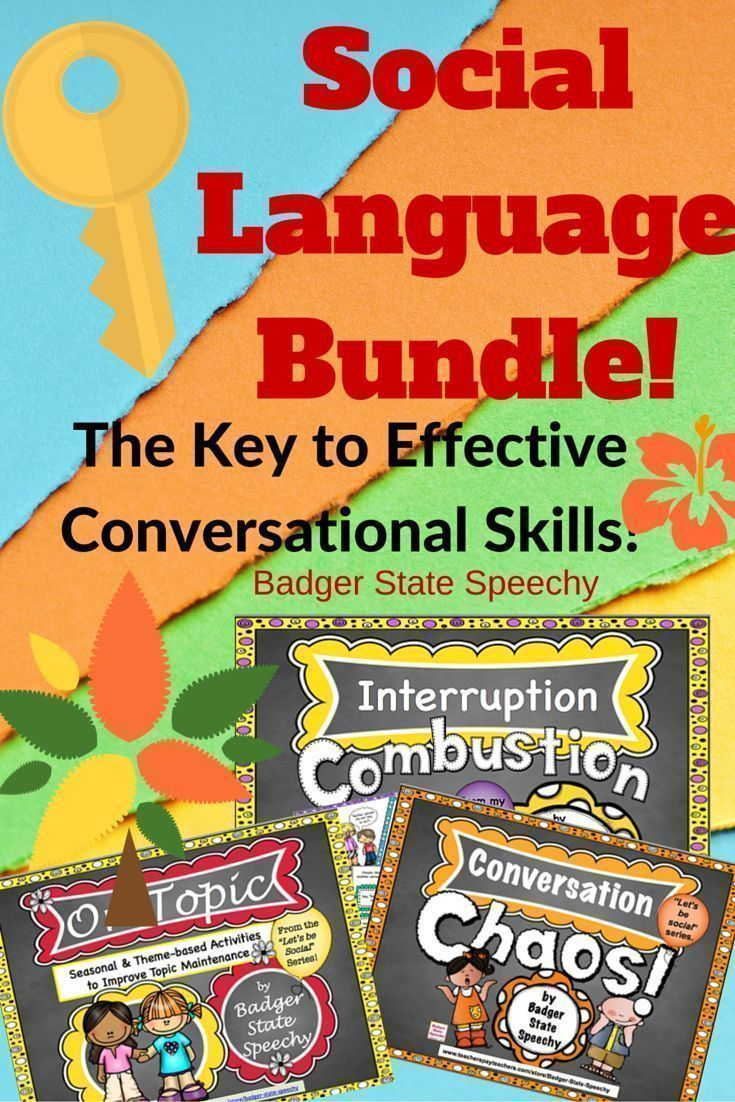 Speech therapy or social skills lessons.  A bundle of 3 great products for improving conversational skills in elementary school children.