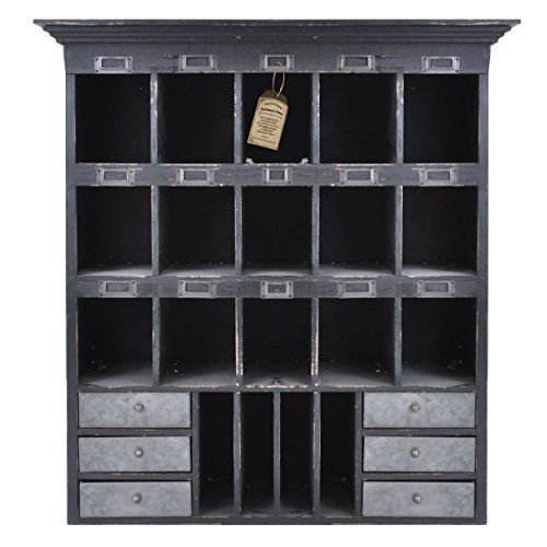 Merveilleux Distressed Wood Cabinet With Cubbies U0026 Drawers (Shabby Black) Home Office  Collection