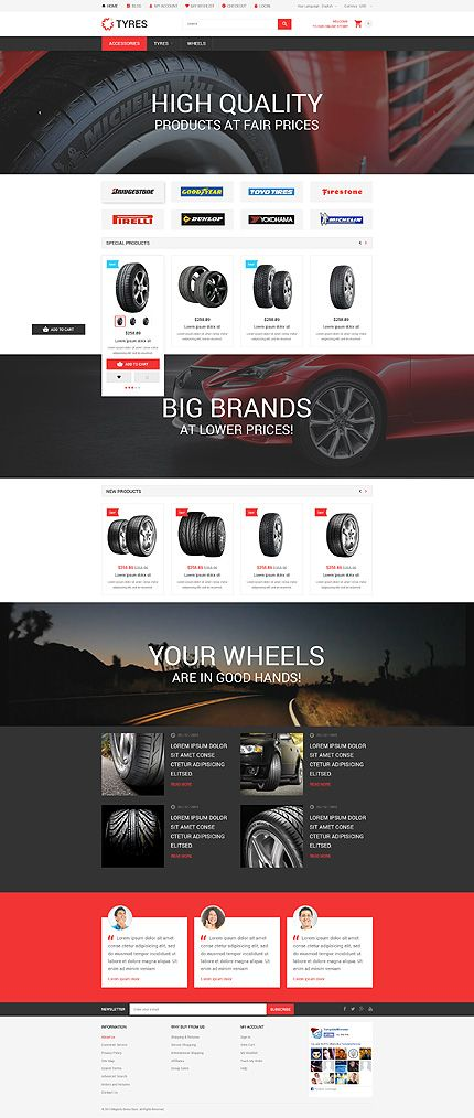 quality tyre online store magento template themes business