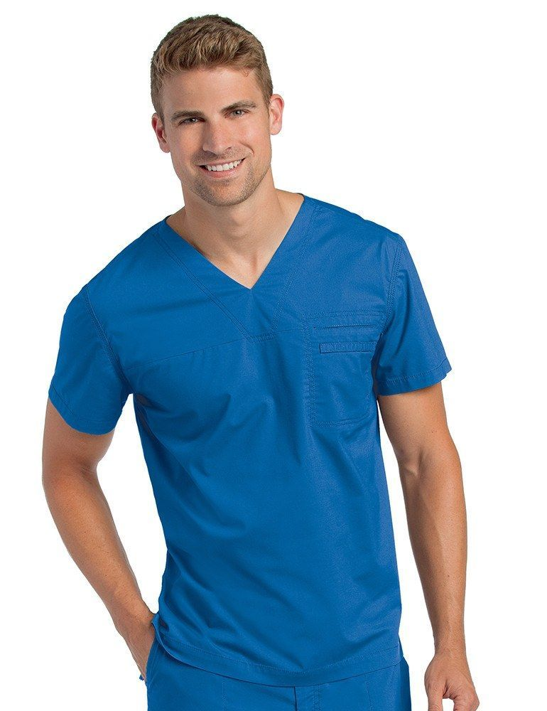 Men 39 s pre washed v neck tunic royal blue scrubs for Spa uniform canada