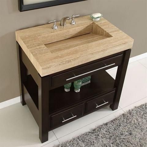 Single Bathroom Vanity With Travertine Ramp Sink From Silkroad Exclusive