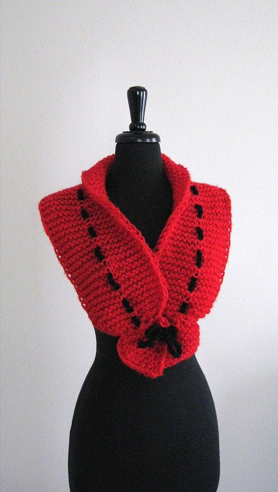 Photo of Items similar to Red Hearts Color Knitted Scarf Collar Valentine's Day Gift Necklet Scarflette with Black Cord on Etsy