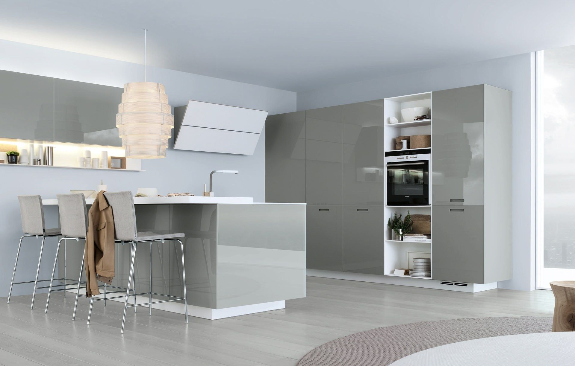 Lacquered linear wooden kitchen KYTON by Varenna by Poliform