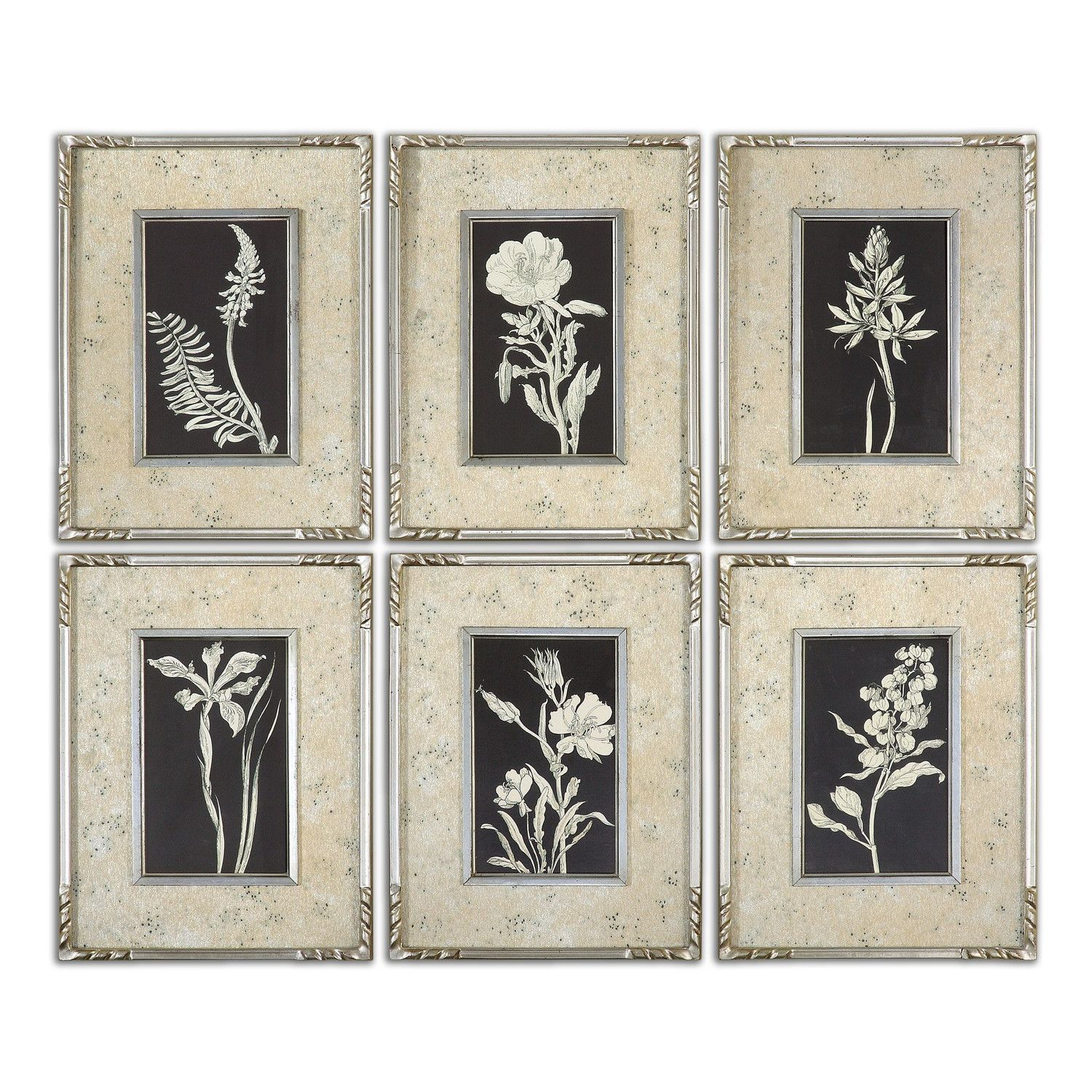 Uttermost 41535 Glowing Florals Framed Wall Art Set Of Six