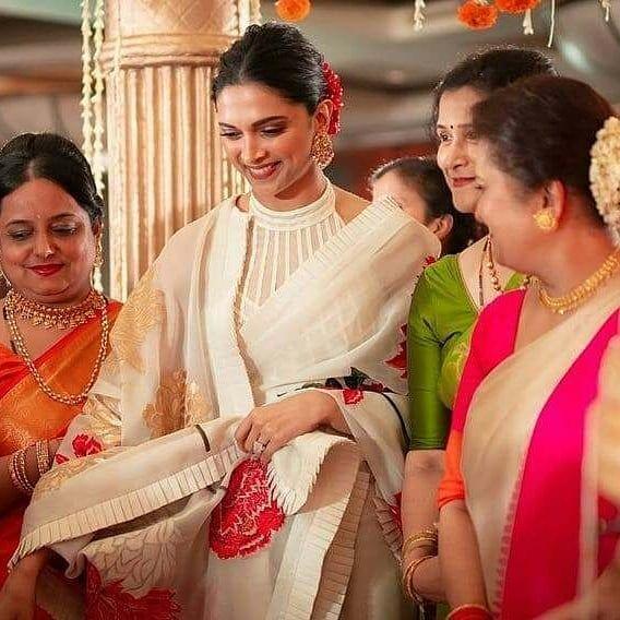 Recently Deepika Padukone wore a gorgeous white gold saree ...