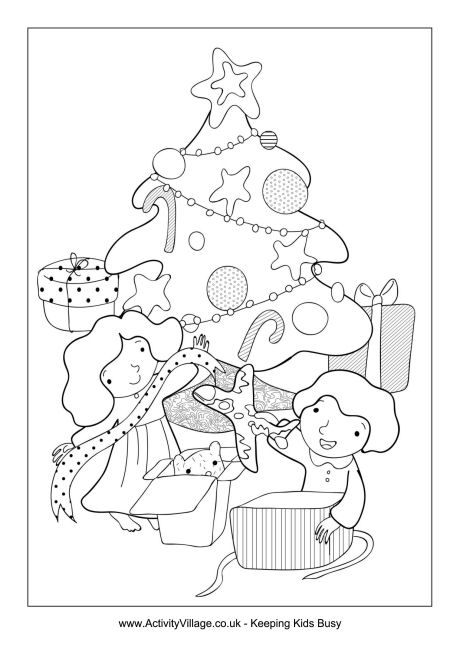 Children opening gifts colouring page Christmas colouring page