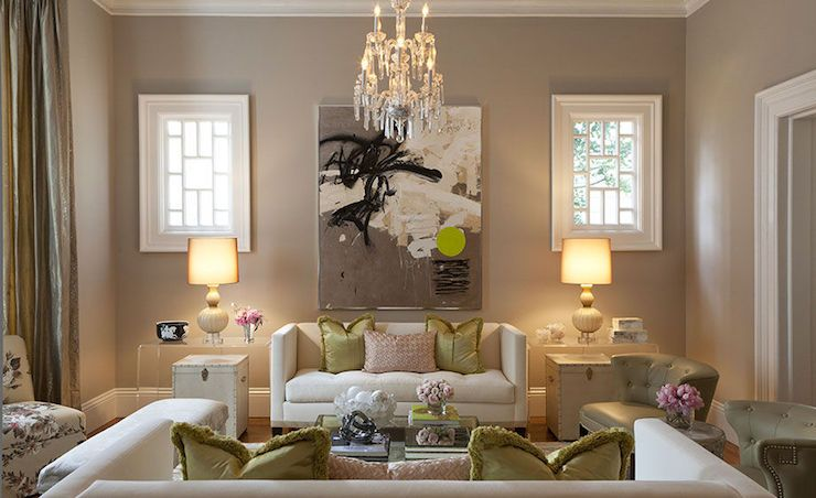 Kendall Wilkinson Design Living Rooms Taupe Walls Wall Color D Curtains Floor Length Cur
