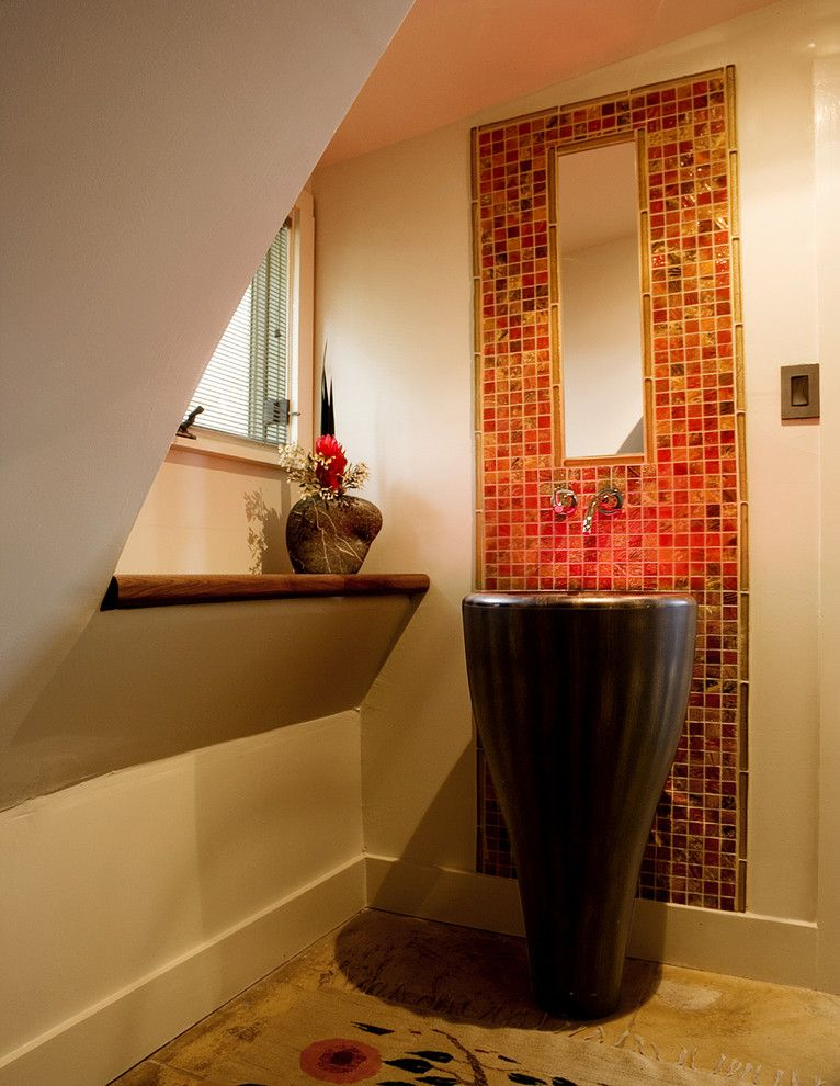 pedestal sink with backsplash tiles carpet window faucets mirror ...