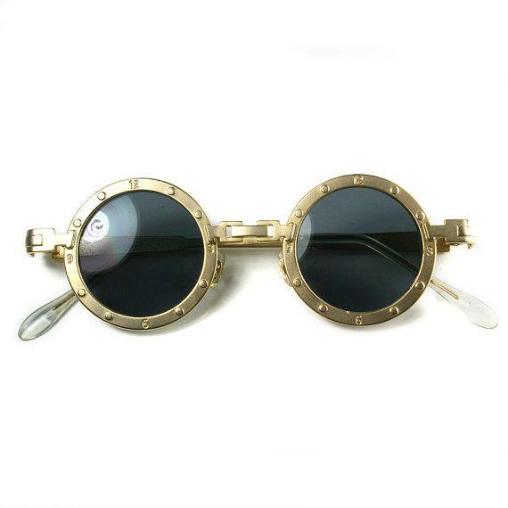 Gafas de sol de metal redondo Retro Goth Steampunk estilo. Marco ...