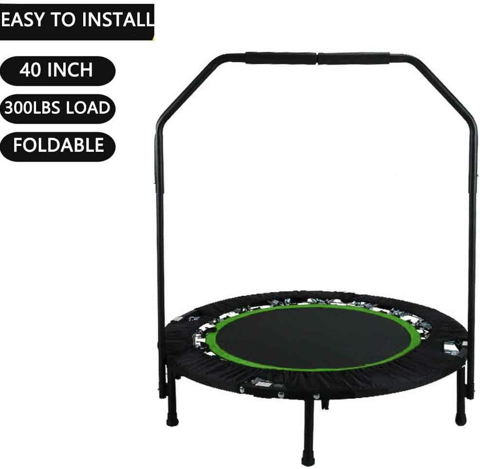 Portable & Foldable Fitness Workout Mini Rebounder Trampoline 40 Inch Max Load 300lbs with Adjus…