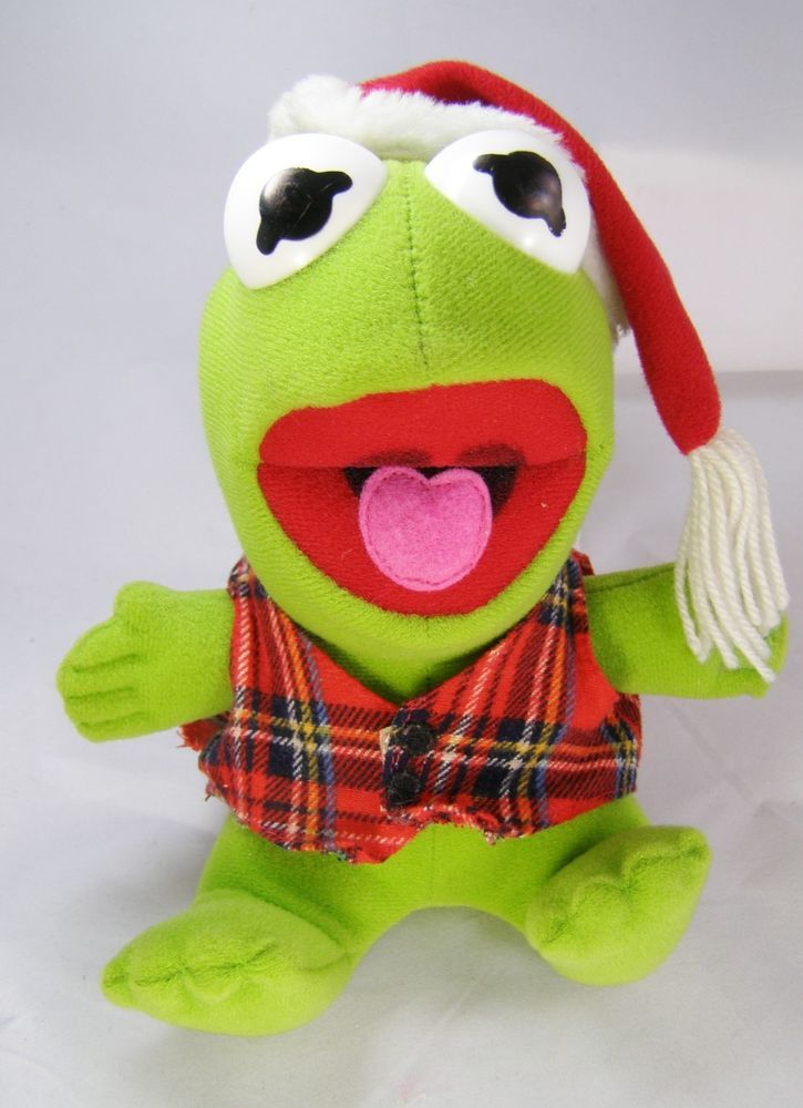 Vintage 1987 BABY KERMIT THE FROG Christmas Muppet Plush Stuffed Toy ...