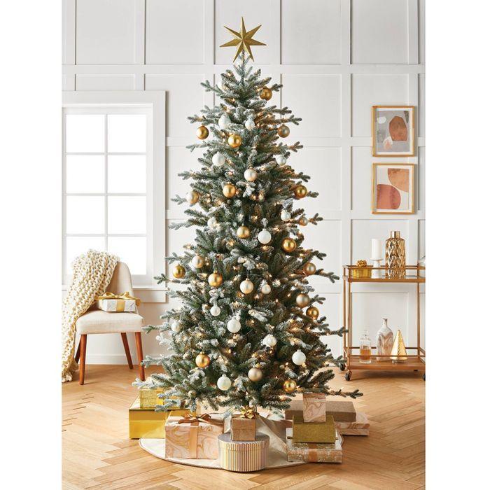 7ft Pre Lit Artificial Christmas Tree Flocked Blue Green Balsam Fir Auto Connec Pre Lit Christmas Tree Christmas Tree Decorations Diy Artificial Christmas Tree