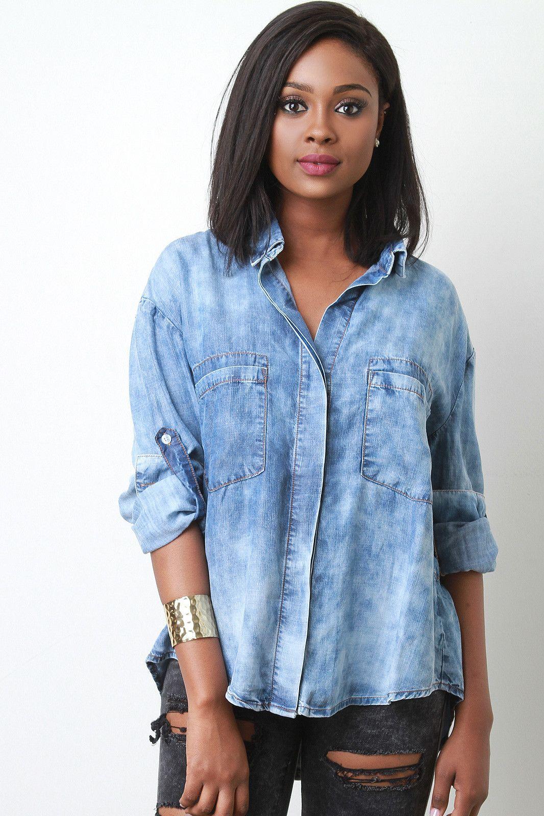 Bleach Wash Hidden Button-Up Denim Shirt