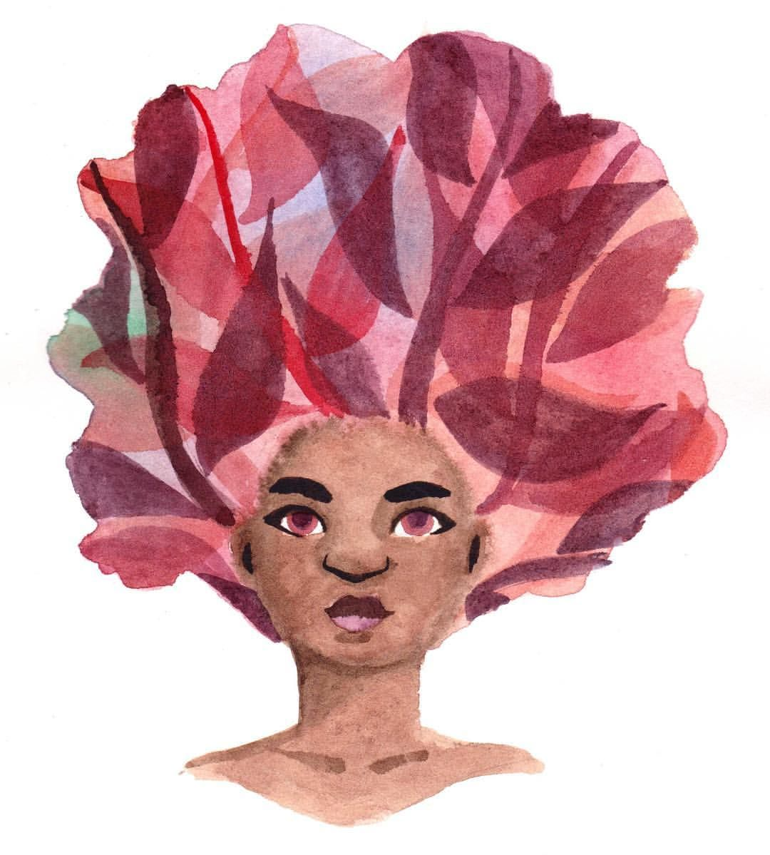 Carol Rossetti: Sometimes the forest is inside. #characterdesign #lapisdecor #aquarela #watercolor #watercolorpainting #forest #blackgirl #afro