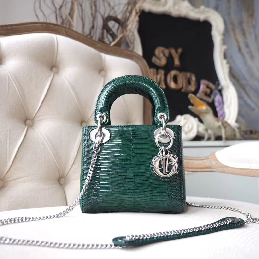 748db9b294 Christian Dior Mini Lady Dior 17cm Bag Lizard Skin Silver Hardware ...