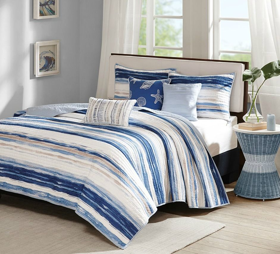 Marina Watercolor Striped Coverlet Set King Size Coastal Bedding Sets Coverlet Set Bedding Sets
