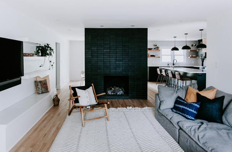Modern Fireplace Design Featuring Our Glazed Thin Brick In Black