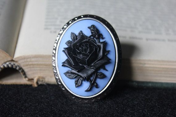Black On Blue Rose Silhouette Cameo Brooch by skullcandydesigns