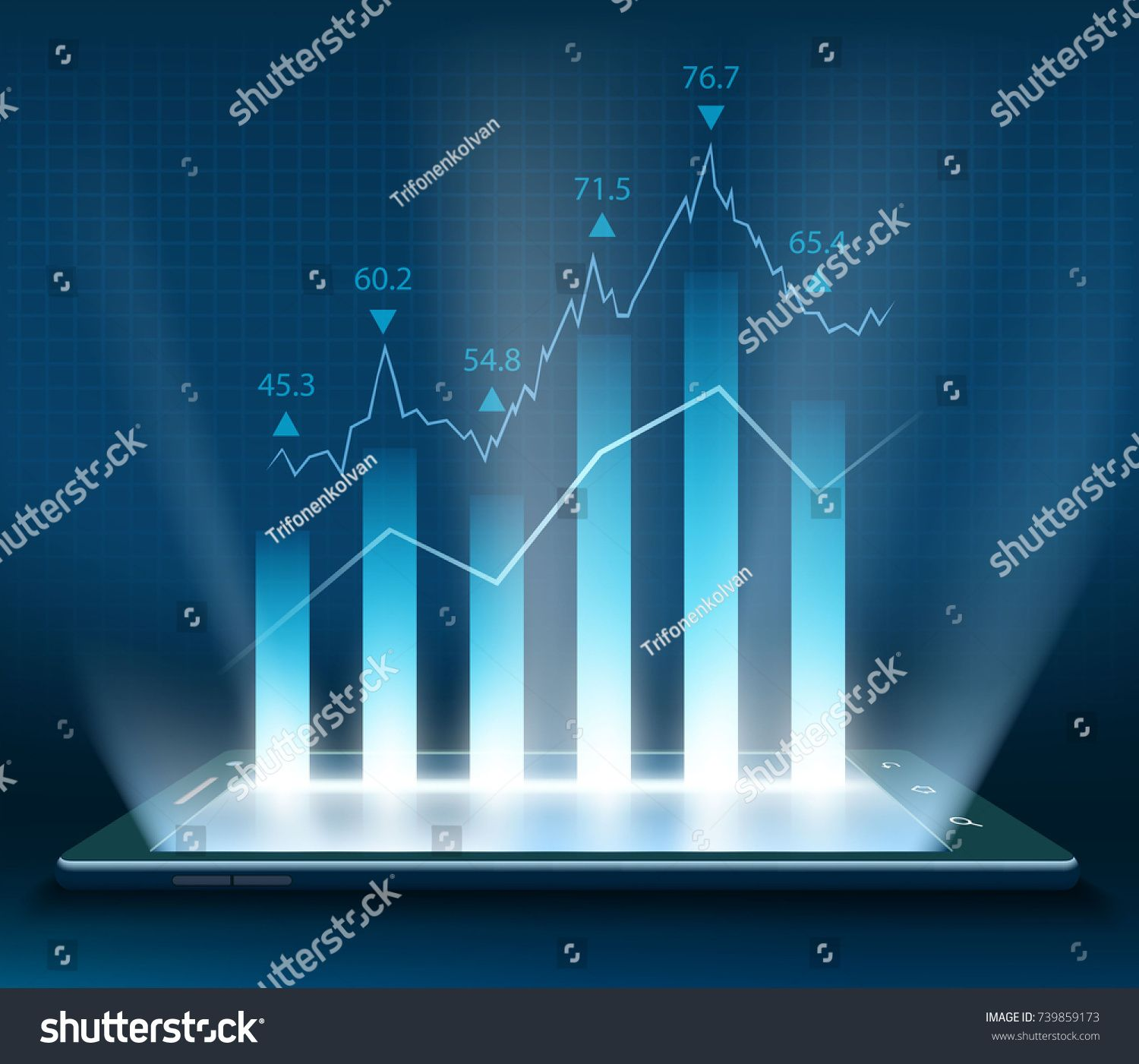 Stock Market Data On The Smartphone Screen Graph With Financial Information Stock Vector Illustration Smartphon Stock Market Data Marketing Data Stock Market