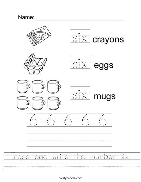 Trace And Write The Number Six Worksheet Twisty Noodle Worksheets Free Beginning Math Numbers For Kids