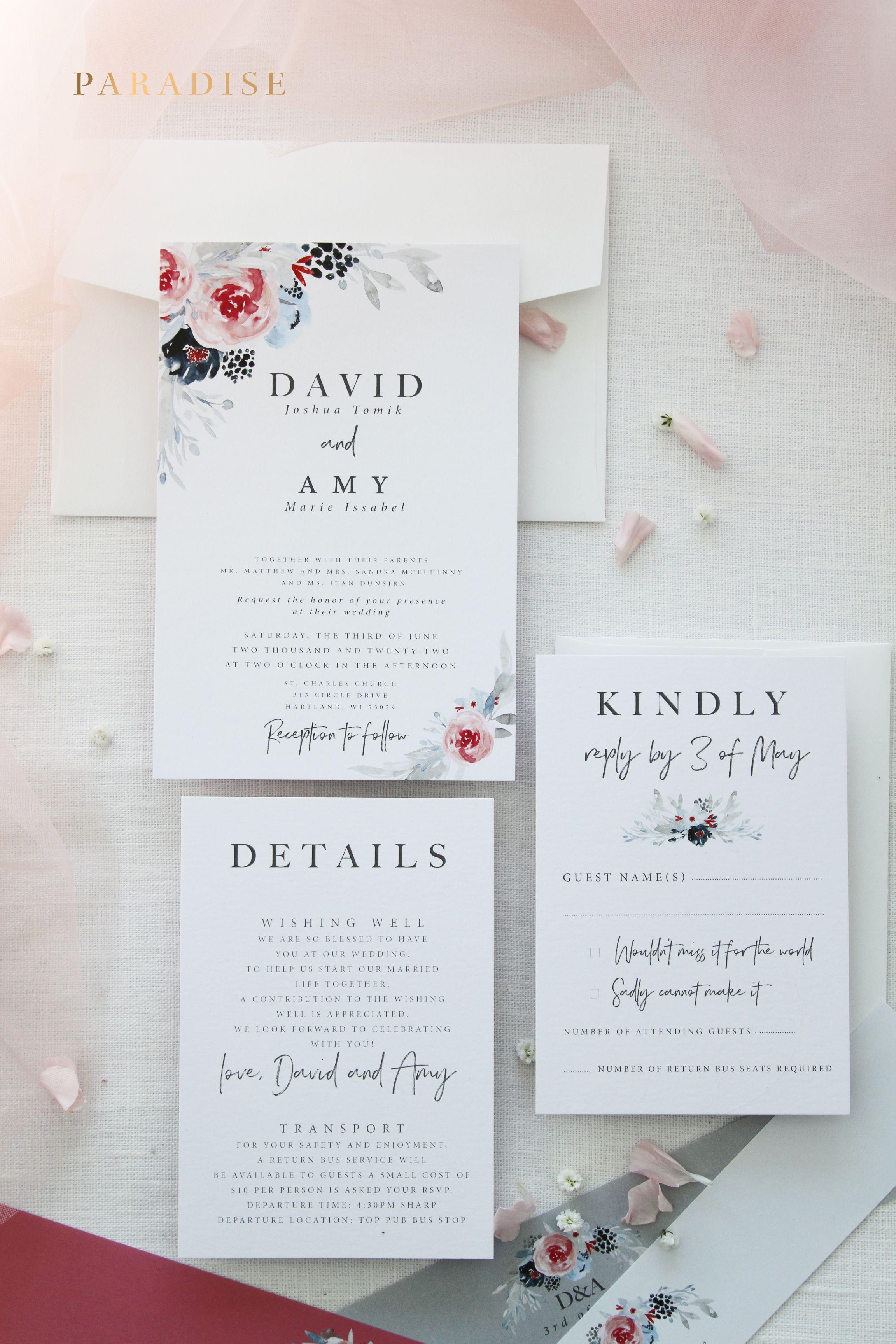danica wedding invitation sets printable wedding invitations or printed wedding invitation sets watercolour flowers - Printed Wedding Invitations