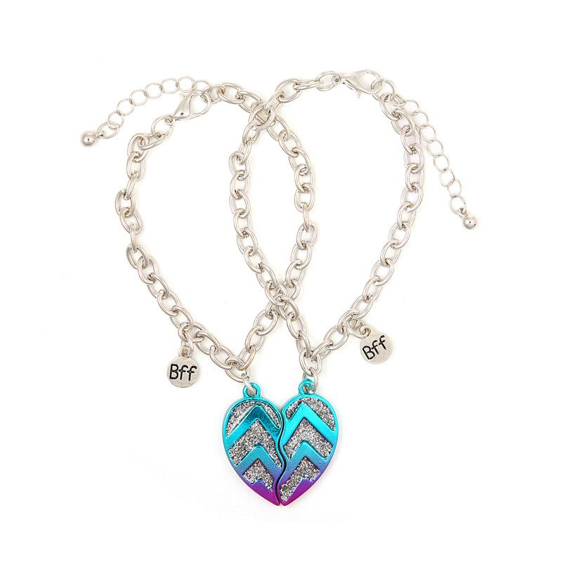 glitter chevron bff heart bracelets fashion best friend