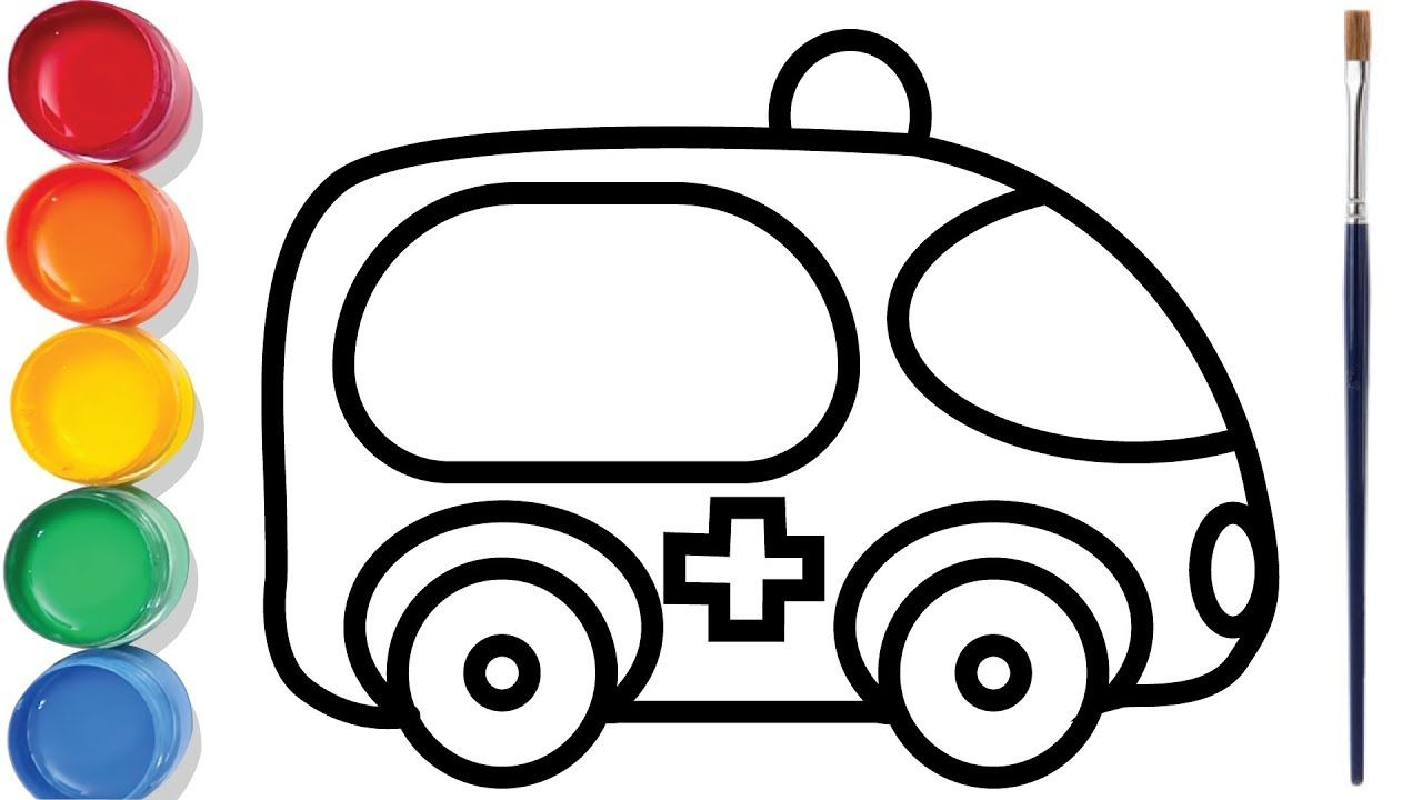 Ambulance Coloring Pages For Kids Easy Drawing Video Chuchu Colors Tv Coloring Pages For Kids Easy Drawings Easy Kids