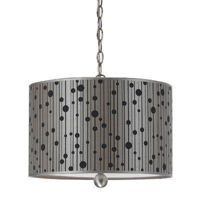 AF Lighting Drizzle 3 Light Drum Pendant Shade color: Grey