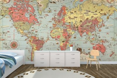 Kids vintage world map mural my home sweet home pinterest kids vintage world map mural gumiabroncs Images