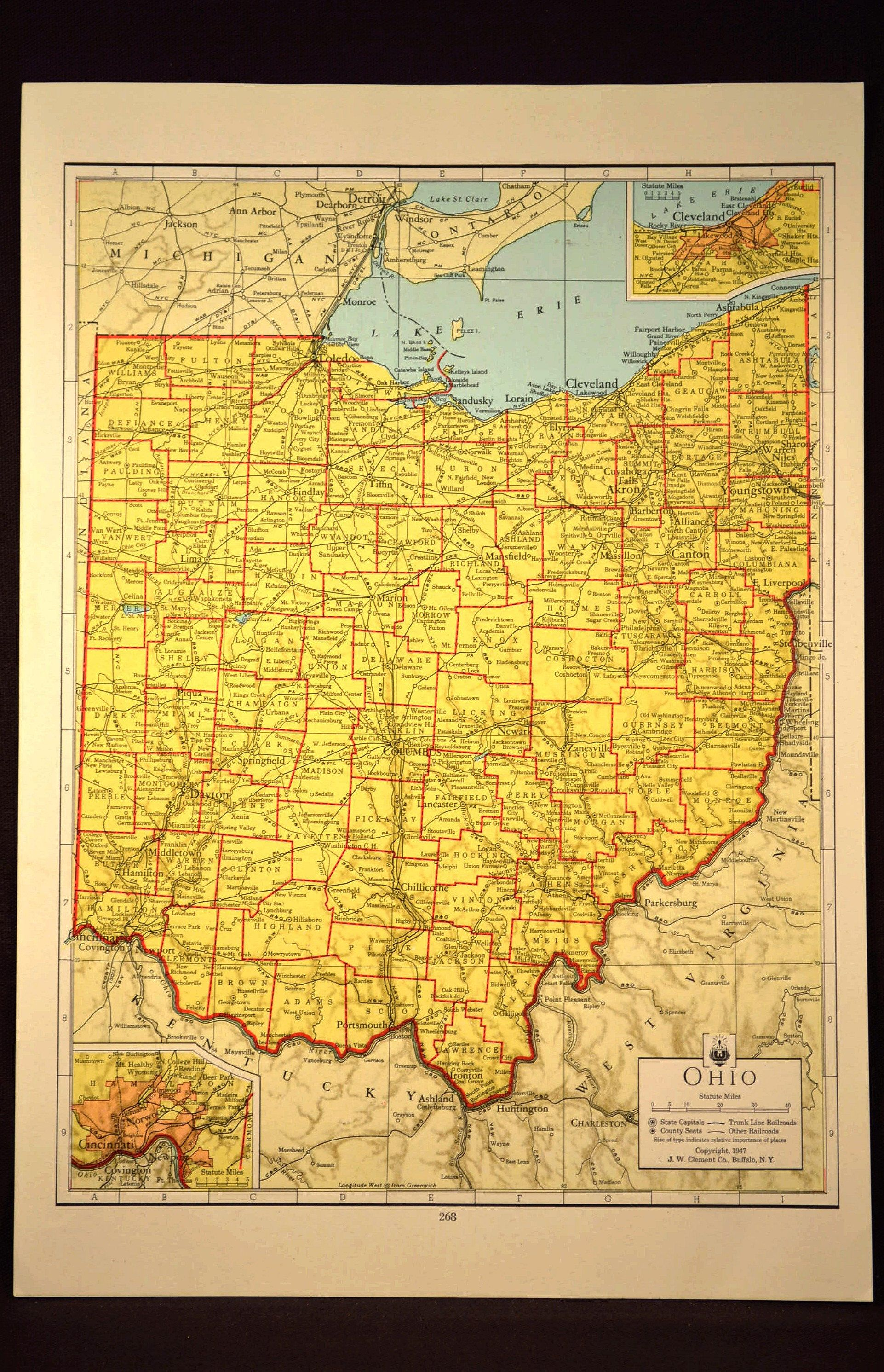 Colorful Yellow Vintage Ohio Map Ohio Colorful Wall Art | Map Wall ...