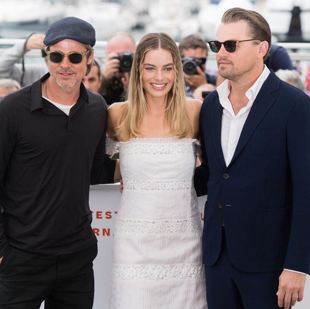 Actors BradPitt, MargotRobbie and LeonardoDiCaprio